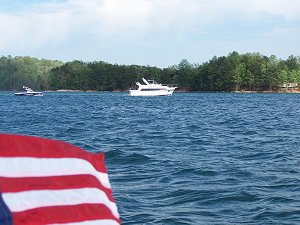 a powerboat on Lake Keowee